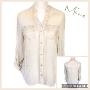 mine Cream Embroidery Detail Button Back Top Sz L